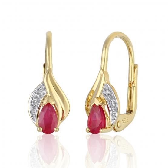 Působivé náušnice Roya, kombinované zlato s brilianty a rubíny