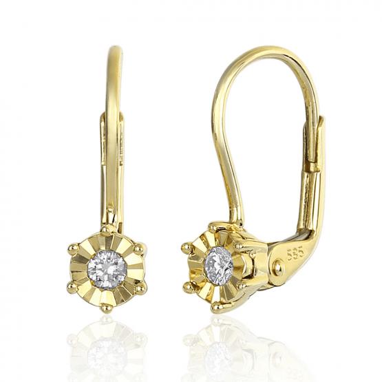 Diamantové náušnice Dafné, žluté zlato a brilianty