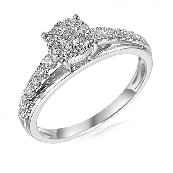 Gems, Honosný zásnubní prsten Serenity, bílé zlato s brilianty