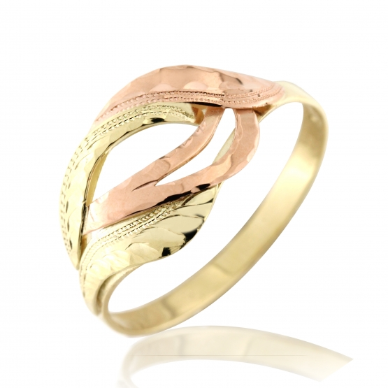 Kombinovaný prsten Isabel, žluté zlato