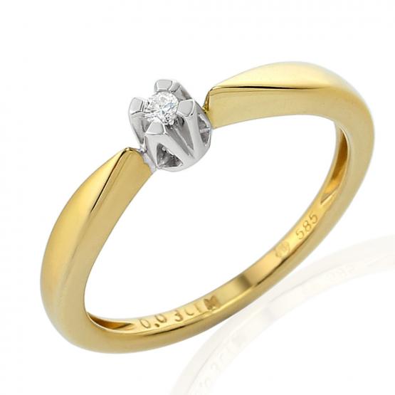 Neobvyklý diamantový prsten Libby, kombinované zlato s briliantem