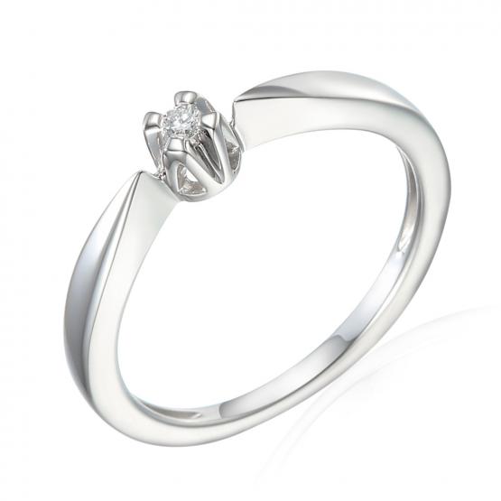 Neobvyklý diamantový prsten Libby, bílé zlato s briliantem