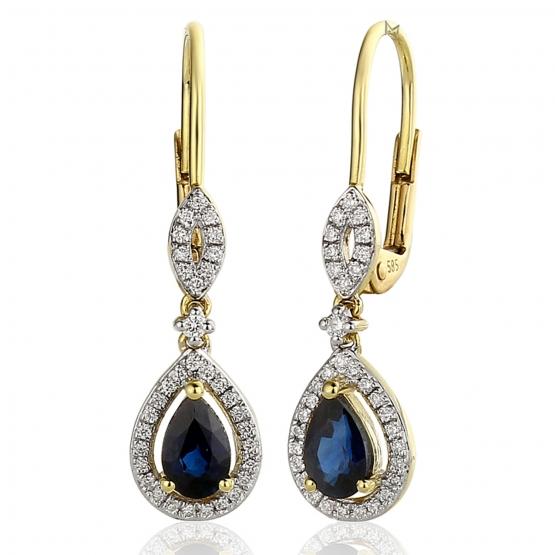 Diamantové náušnice Audrey, žluté zlato s brilianty a safíry
