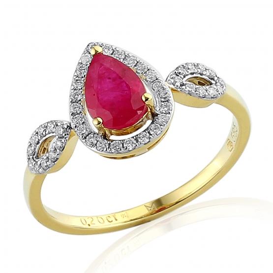 Diamantový prsten Audrey, žluté zlato s brilianty a rubínem