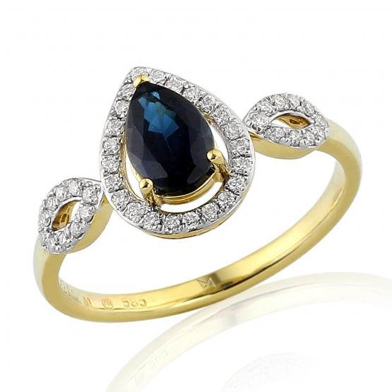 Diamantový prsten Audrey, kombinované zlato s brilianty a safírem