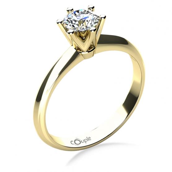 Zásnubní prsten May, žluté zlato se zirkonem