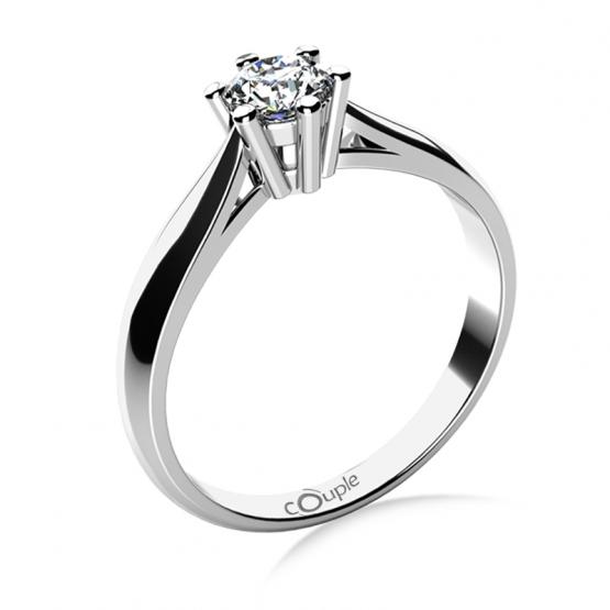 Zásnubní prsten Aimee, bílé zlato a velký briliant