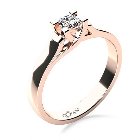 Couple, Zásnubní prsten Brigitte v růžovém zlatě se zirkonem