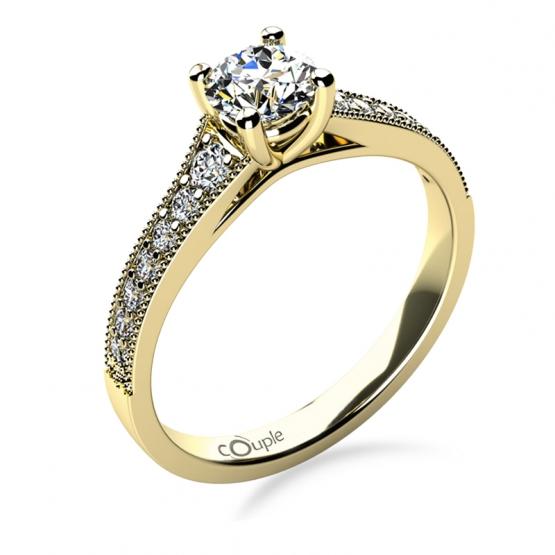 Třpytivý zásnubní prsten Esme, žluté zlato a brilianty