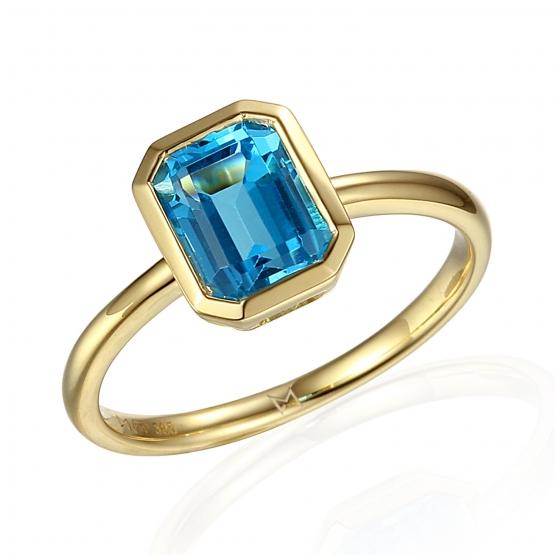 Prsten Naomi, žluté zlato a modrý topaz (blue topaz)
