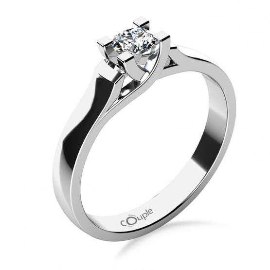 Zásnubní prsten Brigitte v bílém zlatě se zirkonem