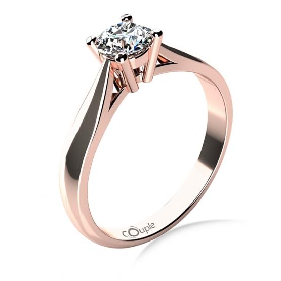 Couple, Elegantní zásnubní prsten Rose, růžové zlato a výrazný zirkon