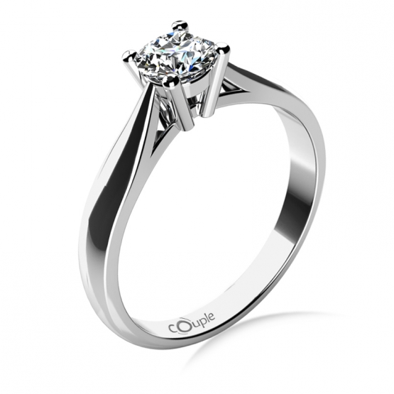Couple, Elegantní zásnubní prsten Rose, bílé zlato a velký zirkon