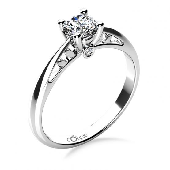 Zásnubní prsten Jodie, bílé zlato a zirkony