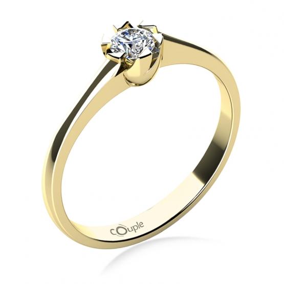 Zajímavý zásnubní prsten Jess, žluté zlato a zirkon