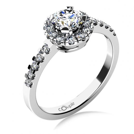 Výrazný zásnubní prsten Bella v bílém zlatě se zirkony