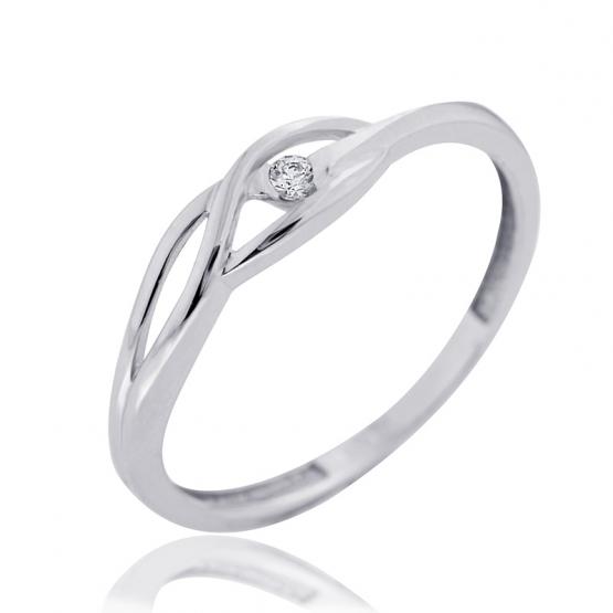 Couple, Rafinovaný prsten Rhonda, bílé zlato se zirkonem