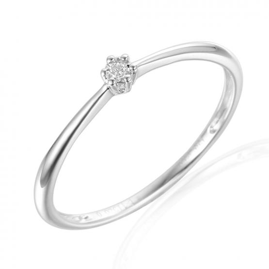 Jemný zásnubní prsten Emilie, bílé zlato s briliantem