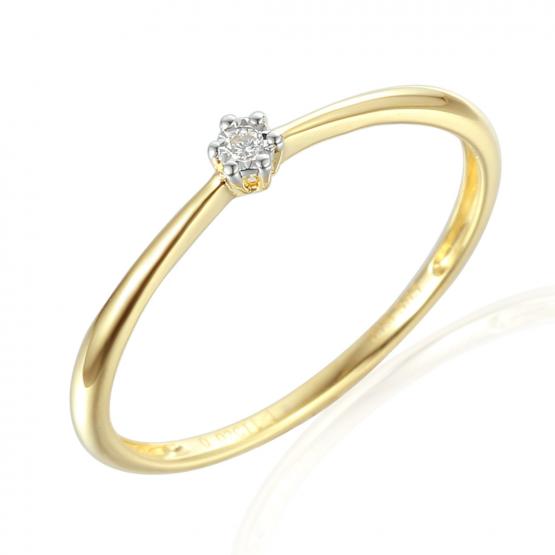 Jemný zásnubní prsten Emilie, kombinované zlato s briliantem