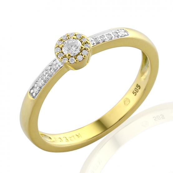 Elegantní diamantový prsten Davina, kombinované zlato s brilianty