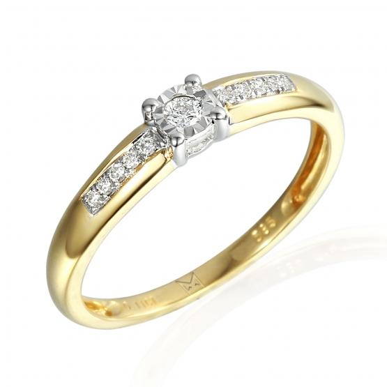 Diamantový zásnubní prsten Madison, v kombinaci žlutého a bílého zlata