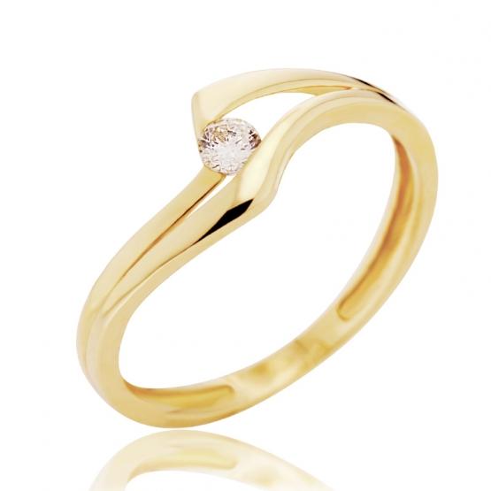 Zajímavý prsten Eloise, žluté zlato se zirkonem