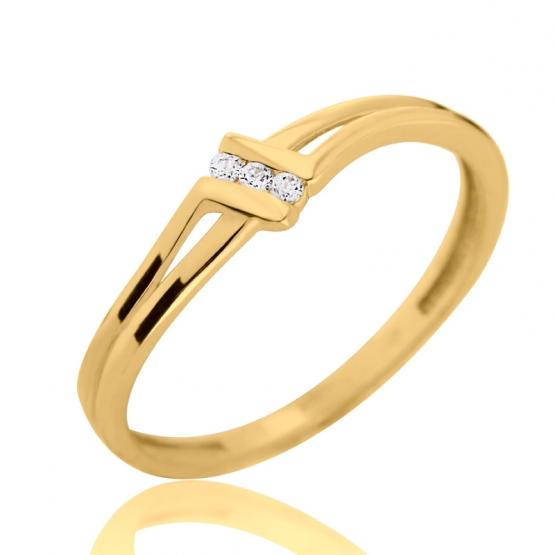 Zajímavý prsten Lotte, žluté zlato se zirkony