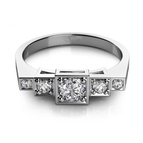 Originální prsten Liam, bílé zlato se zirkony