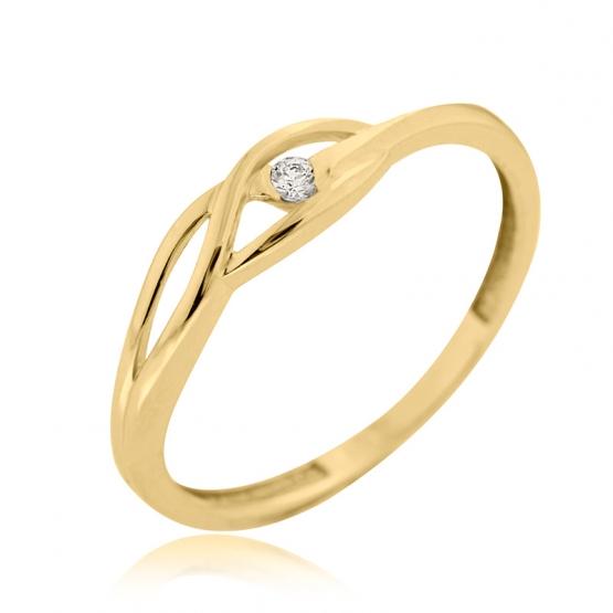 Couple, Rafinovaný prsten Rhonda, žluté zlato se zirkonem
