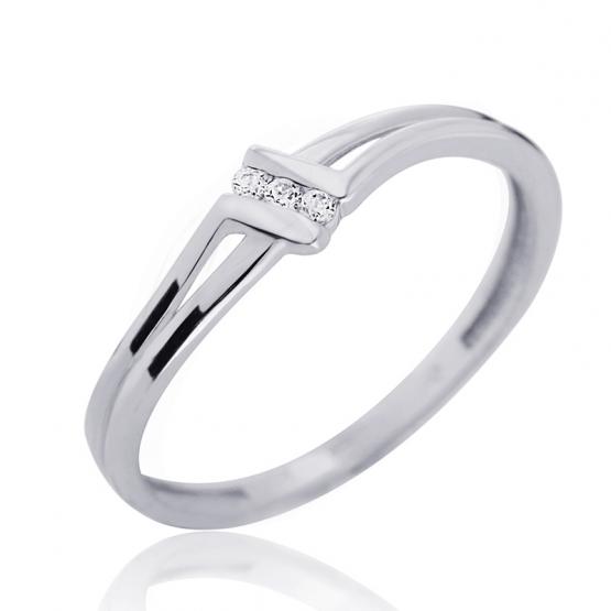 Couple, Zajímavý prsten Lotte, bílé zlato se zirkony