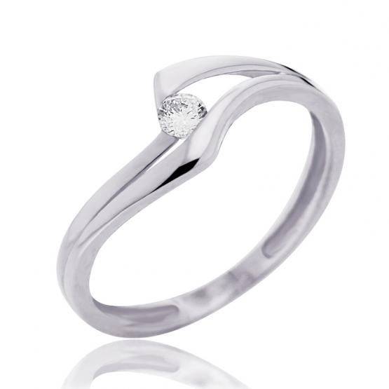 Couple, Zajímavý prsten Eloise, bílé zlato se zirkonem